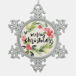 Christmas | Watercolor - Merry Christmas Wreath Snowflake Pewter Christmas Ornament