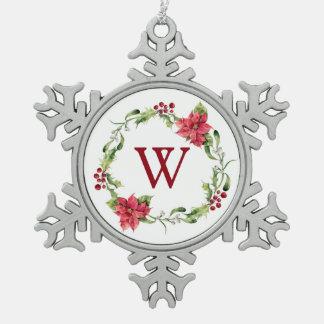 Christmas | Watercolor - Mistletoe & Holly Wreath Snowflake Pewter Christmas Ornament