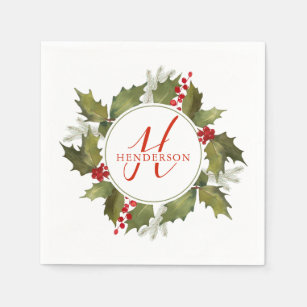 Christmas Wreath With Red Berries Napkins Zazzle Uk