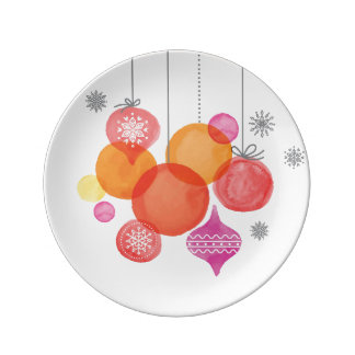 Christmas   Watercolor - Ornaments & Snowflakes Plate
