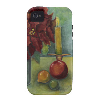 Christmas Watercolor painting poinsettia candle iPhone 4/4S Cases