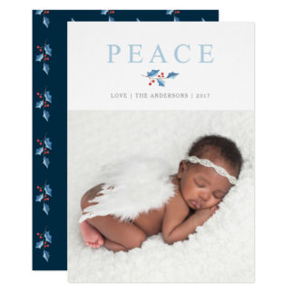 Christmas Watercolor Peace Holly Branch Holiday Card