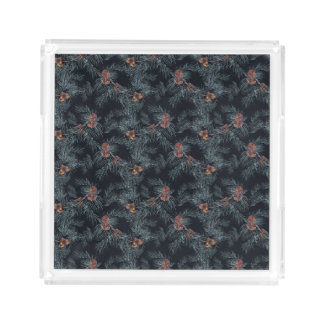 Christmas Watercolor Pine Cone Pattern Acrylic Tray