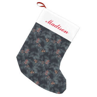 Christmas Watercolor Pine Cone Pattern Small Christmas Stocking