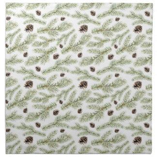 Christmas Watercolor Pine Cones Pattern Napkin