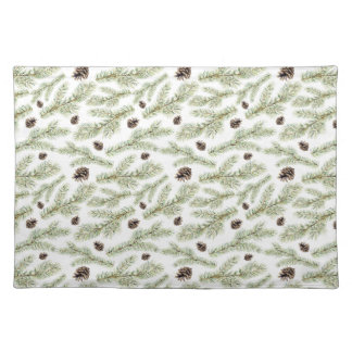 Christmas Watercolor Pine Cones Pattern Placemat