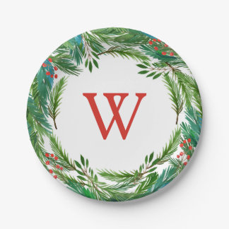 Christmas | Watercolor - Pine & Holly Frame Paper Plate