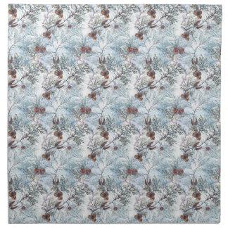 Christmas Watercolor Pines & Cones Pattern Napkin