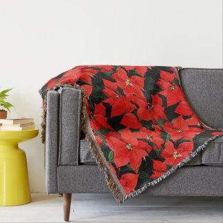 Christmas Watercolor Poinsettias Black Background Throw Blanket