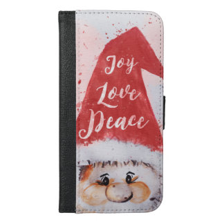 "Christmas watercolor Santa Claus ""Joy Love Peace"" iPhone 6/6s Plus Wallet Case"