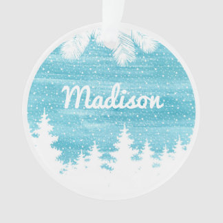 Christmas | Watercolor - Snow Pine Trees Ornament