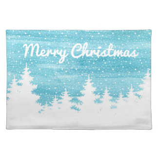Christmas | Watercolor - Snow Pine Trees Placemat