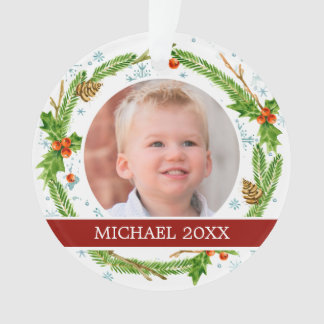 Christmas | Watercolor - Snowflake & Holly Wreath Ornament