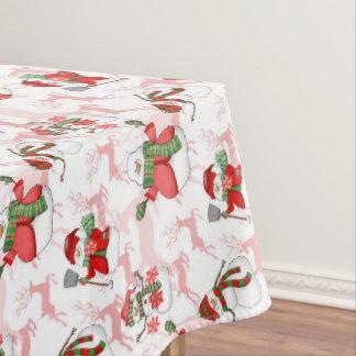 Christmas watercolor snowman home decor tablecloth