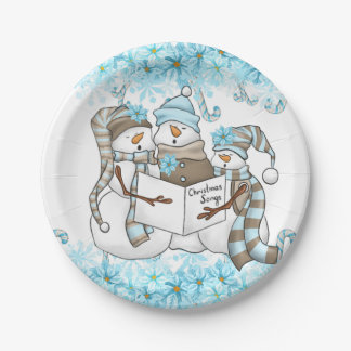Christmas watercolor snowman party plate