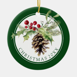 Christmas | Watercolor - Vintage Holly & Pinecone Christmas Ornament