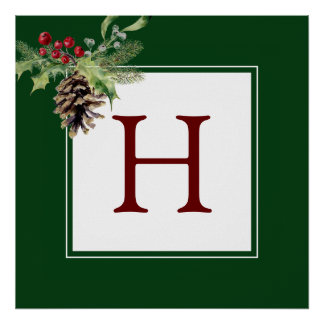 Christmas | Watercolor - Vintage Holly & Pinecone Poster