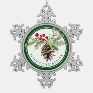 Christmas | Watercolor - Vintage Holly & Pinecone Snowflake Pewter Christmas Ornament