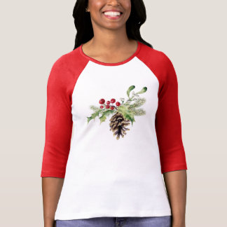 Christmas | Watercolor - Vintage Holly & Pinecone T-Shirt