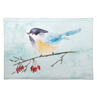 Christmas | Watercolor - Winter Bird & Berries Placemat