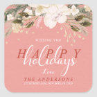 Christmas Watercolor Winter Flowers Return Address Square Sticker