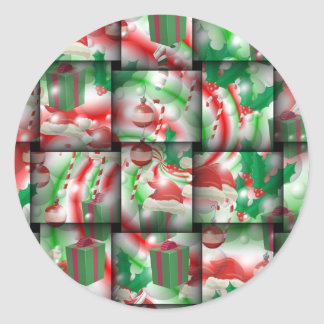 Christmas Weave Round Sticker