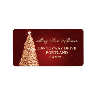 Christmas Wedding Address Gold Red Address Label