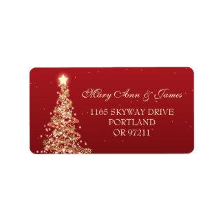 Christmas Wedding Address Red Gold Address Label