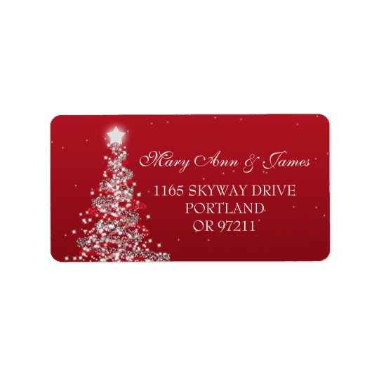 Christmas Wedding Address Red Silver Label