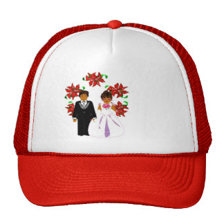 Christmas Wedding Couple In Red Round Wreath I Cap