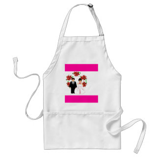 Christmas Wedding Couple IV In Pink Standard Apron