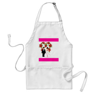 Christmas Wedding Couple IV In Pink With Heart Standard Apron