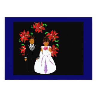 "Christmas Wedding Couple With Wreath Blue Black 5"" X 7"" Invitation Card"