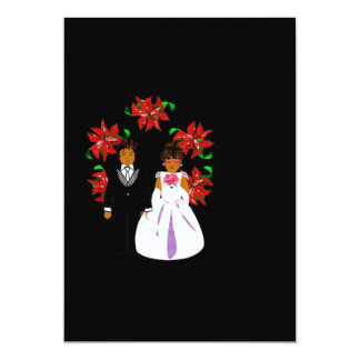"""Christmas Wedding Couple With Wreath In Black 5"""" X 7"""" Invitation Card"""