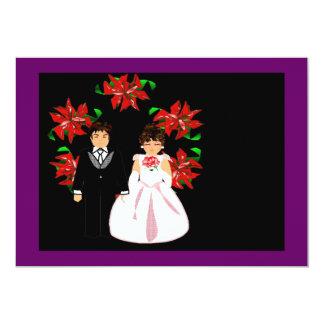 "Christmas Wedding Couple With Wreath Purple Pink 5"" X 7"" Invitation Card"
