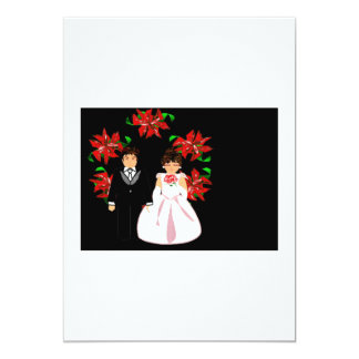 "Christmas Wedding Couple With Wreath White Black 5"" X 7"" Invitation Card"