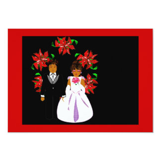 Christmas Wedding Couple Wreath In Red Gold Personalized Invitation