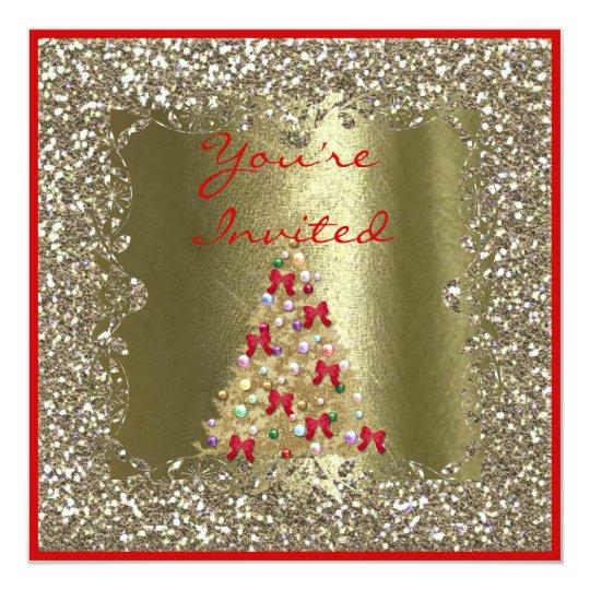 CHRISTMAS WEDDING CRYSTAL Gold Sparkle Invitation