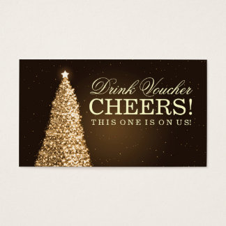 Christmas Wedding Drink Voucher Gold Business Card
