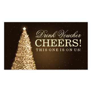 Christmas Wedding Drink Voucher Gold Pack Of Standard Business Cards