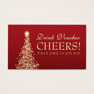 Christmas Wedding Drink Voucher Red Gold Business Card
