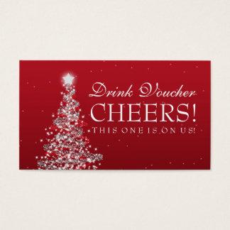 Christmas Wedding Drink Voucher Red Silver