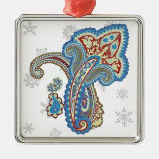 Christmas wedding ornament. Stylish paisley design Silver-Colored Square Decoration