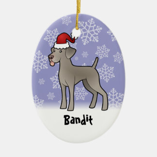 Christmas Weimaraner (add your pets name) Christmas Ornament