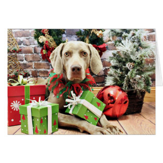 Christmas - Weimaraner - Lucy Greeting Card