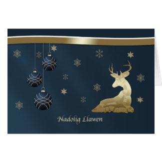 Christmas, Welsh, Golden Deer, Snowflakes Greeting Card