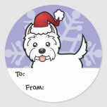 Christmas West Highland White Terrier Gift Tags Round Sticker