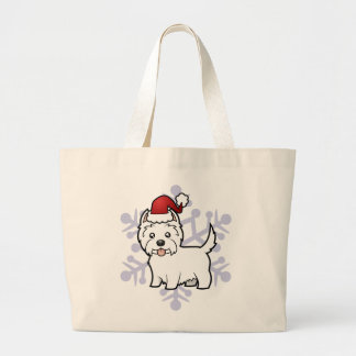 Christmas West Highland White Terrier Large Tote Bag