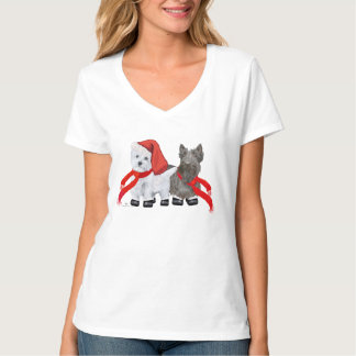 Christmas Westie and Scottie T-Shirt