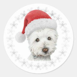 Christmas Westie Dog Art Classic Round Sticker